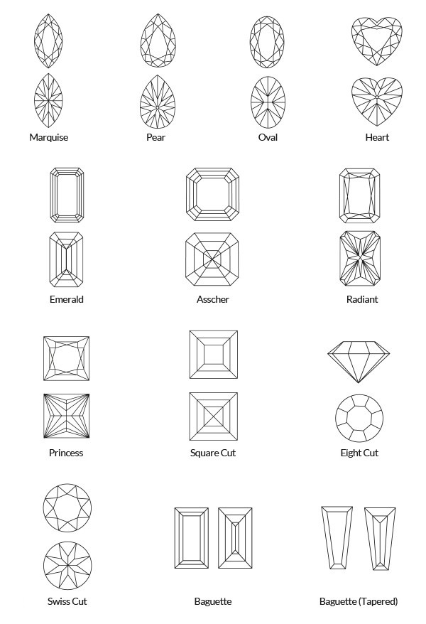 fancy shapes - marquise, pear, oval, heart, emerald, asscher, radiant, princess, square cut, eight cut, swiss cut baguette, baguette (tapered)